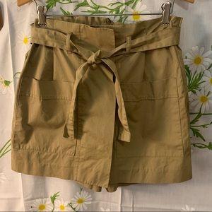 Zara Tan high waisted paper bag belted skort skirt